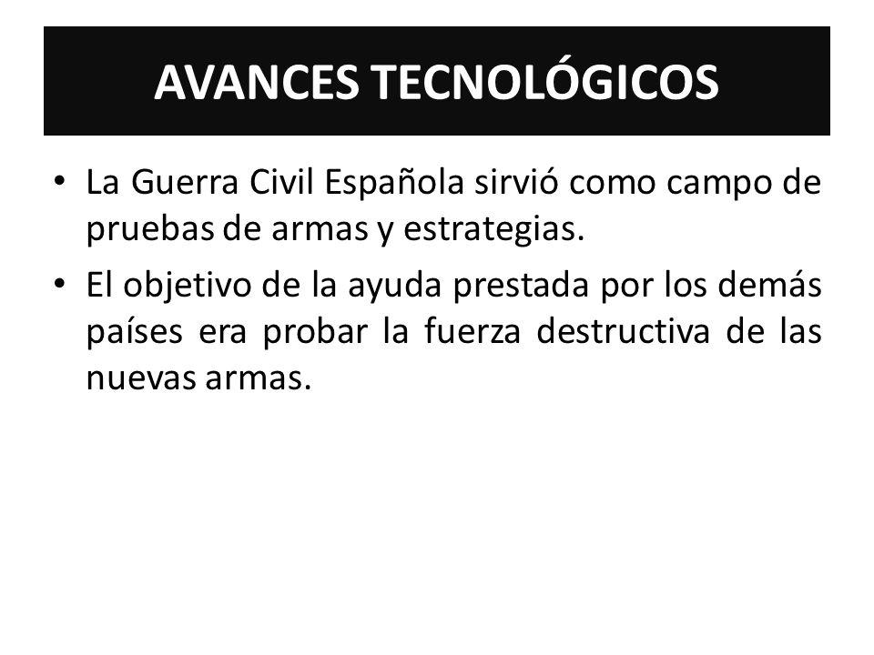 AVANCES TECNOLÓGICOS La Guerra Civil Española sirvió como campo de pruebas de armas y estrategias. El objetivo de la ayuda prestada por los demás país