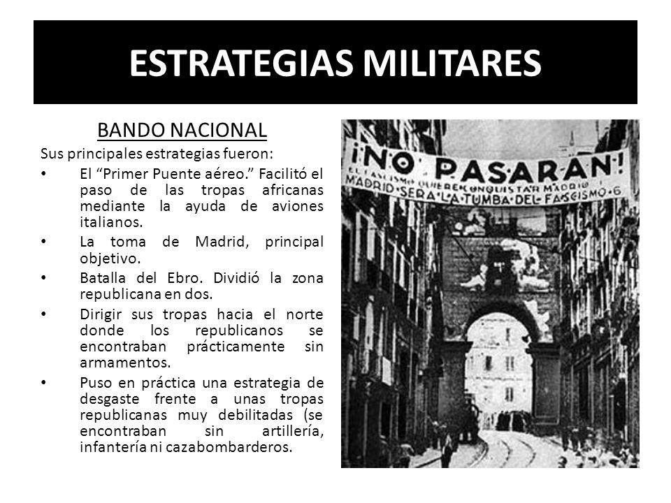 ESTRATEGIAS MILITARES BANDO NACIONAL Sus principales estrategias fueron: El Primer Puente aéreo. Facilitó el paso de las tropas africanas mediante la