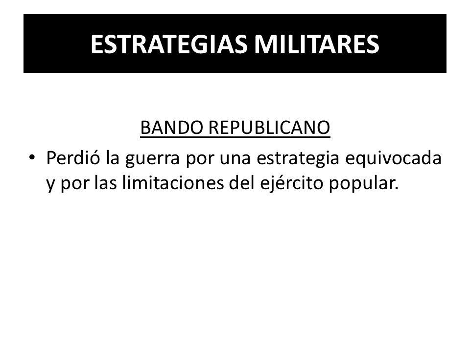 ESTRATEGIAS MILITARES BANDO REPUBLICANO Perdió la guerra por una estrategia equivocada y por las limitaciones del ejército popular.