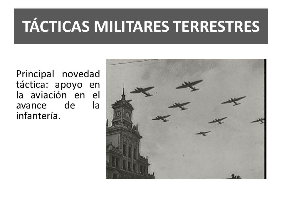 TÁCTICAS MILITARES TERRESTRES Principal novedad táctica: apoyo en la aviación en el avance de la infantería.