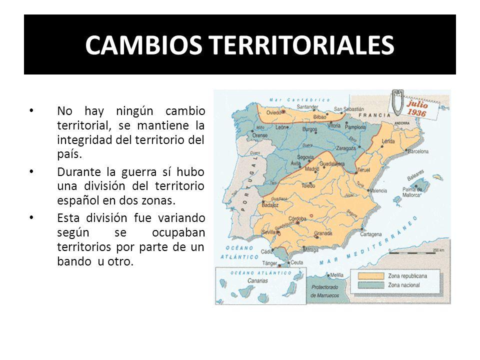 CAMBIOS TERRITORIALES No hay ningún cambio territorial, se mantiene la integridad del territorio del país. Durante la guerra sí hubo una división del