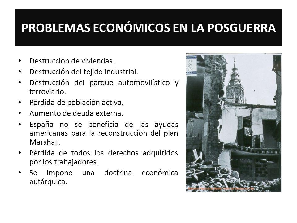 PROBLEMAS ECONÓMICOS EN LA POSGUERRA Destrucción de viviendas. Destrucción del tejido industrial. Destrucción del parque automovilístico y ferroviario