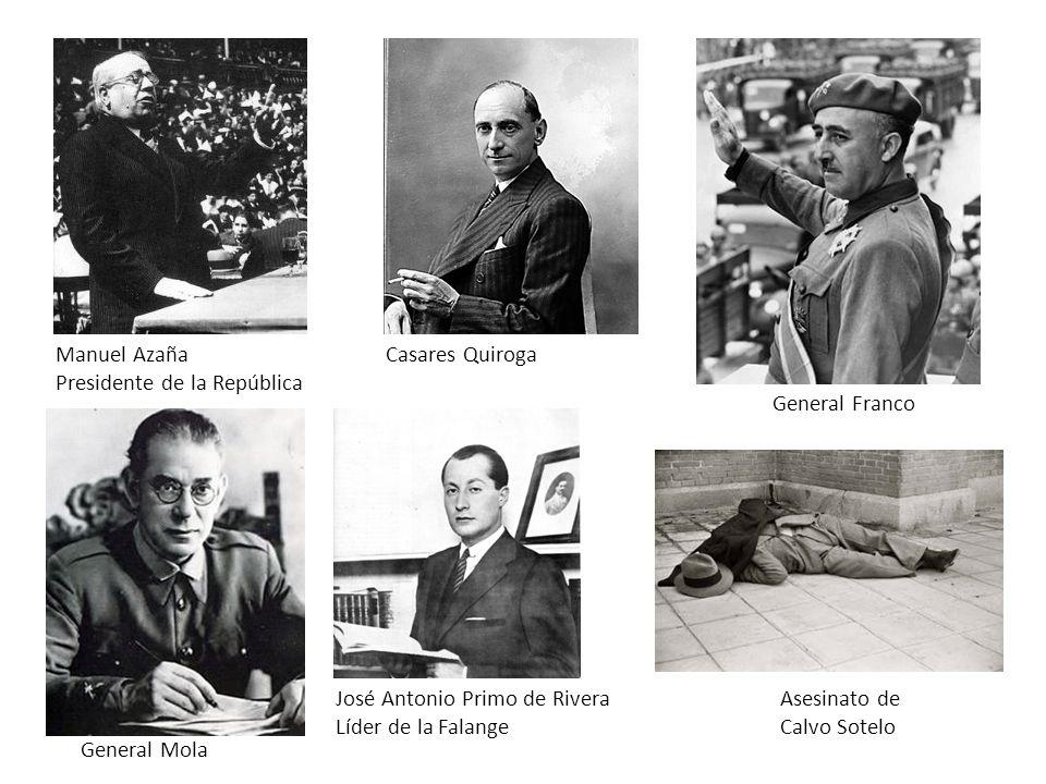 Manuel Azaña Presidente de la República General Mola General Franco Casares Quiroga Asesinato de Calvo Sotelo José Antonio Primo de Rivera Líder de la