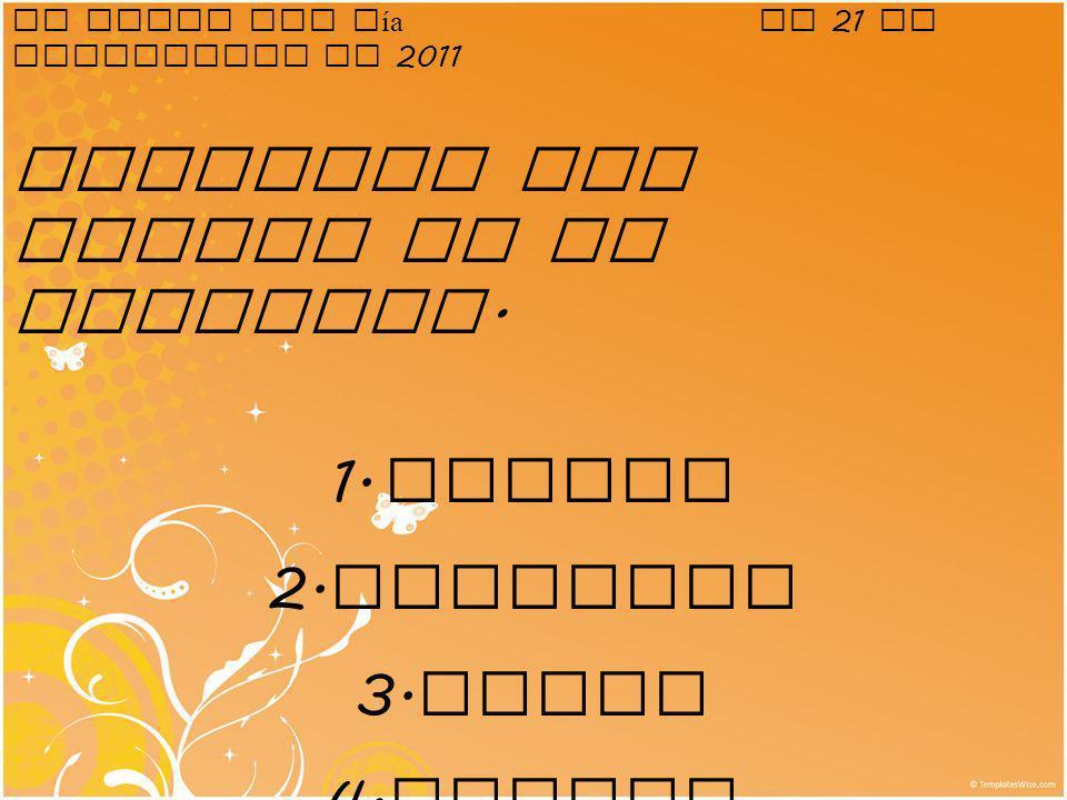 El plato del díael 21 de septiembre de 2011 Conjugar los verbos en el presente. 1. bailar 2. escribir 3. comer 4. cantar