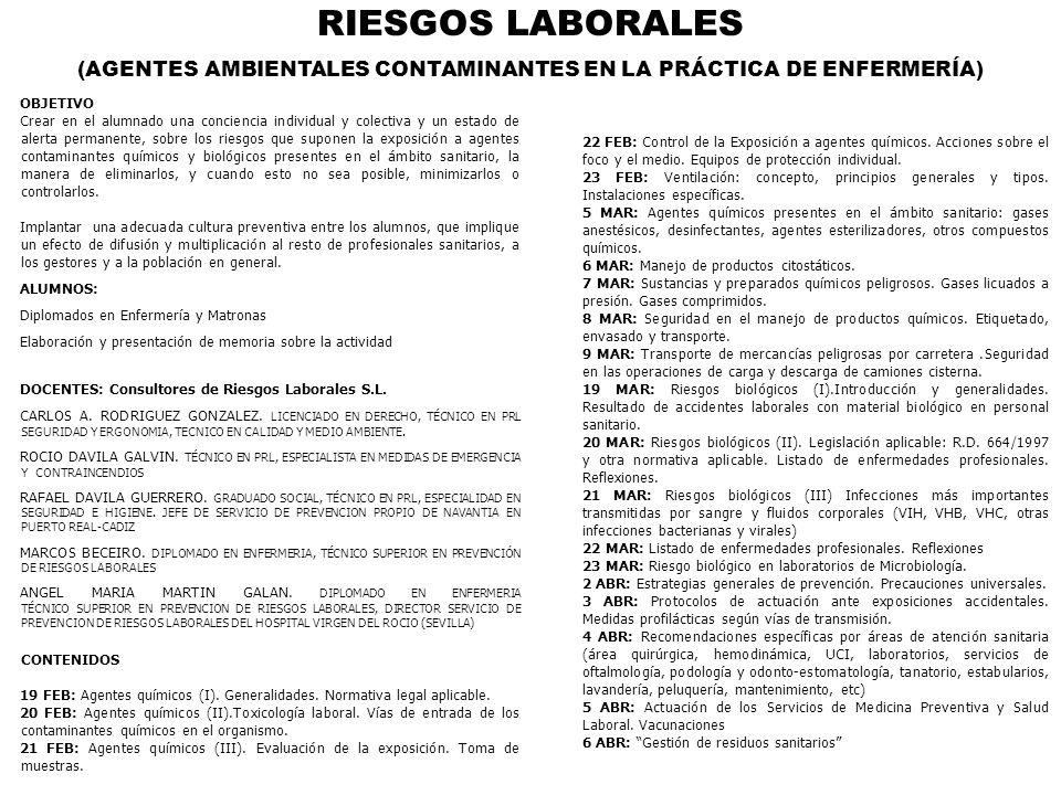 RIESGOS LABORALES AGENTES AMBIENTALES CONTAMINANTES 150 horas en fase de acreditación ALGECIRAS Delegación colegial 19 febrero-6 abril 2007 Nº Alumnos: 35.- Horario: de 16 a 21 horas.
