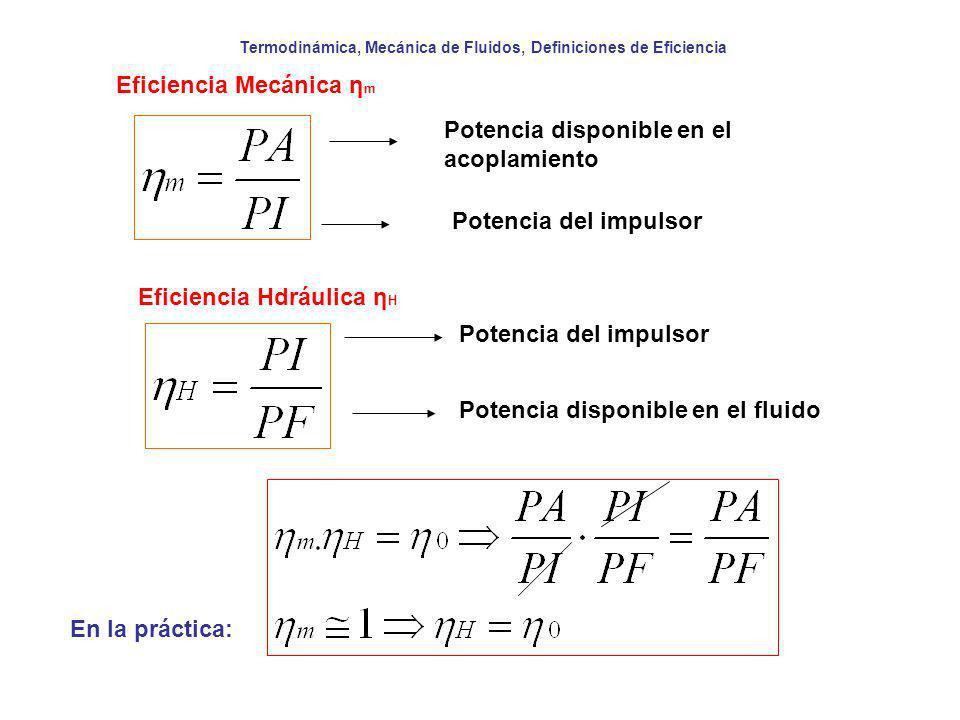 Termodinámica, Mecánica de Fluidos, Definiciones de Eficiencia Eficiencia Mecánica η m Potencia disponible en el acoplamiento Potencia del impulsor Ef