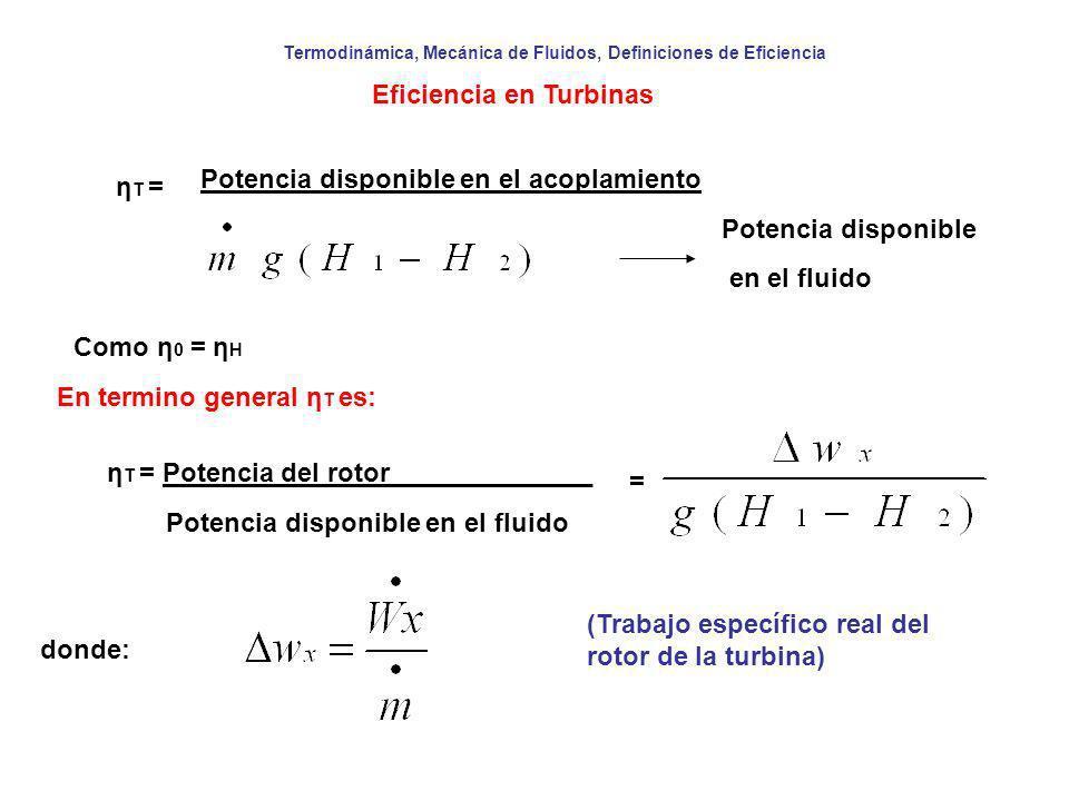 Termodinámica, Mecánica de Fluidos, Definiciones de Eficiencia Eficiencia en Turbinas η T = Potencia disponible en el acoplamiento Potencia disponible
