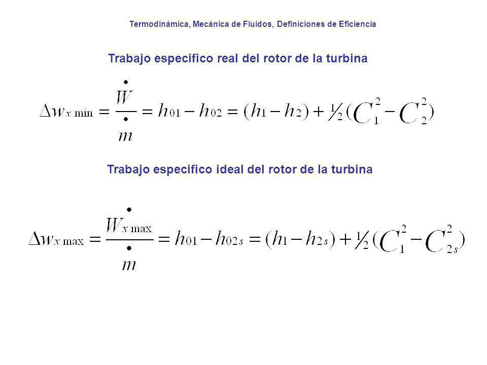 Termodinámica, Mecánica de Fluidos, Definiciones de Eficiencia Trabajo especifico real del rotor de la turbina Trabajo especifico ideal del rotor de l