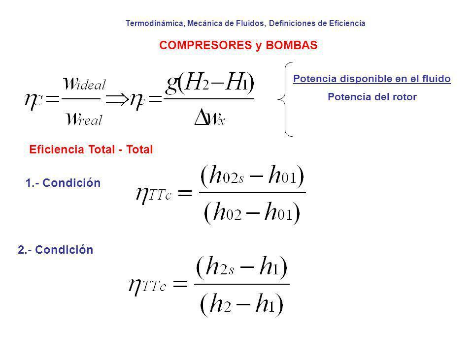 Termodinámica, Mecánica de Fluidos, Definiciones de Eficiencia COMPRESORES y BOMBAS Potencia disponible en el fluido Potencia del rotor Eficiencia Tot