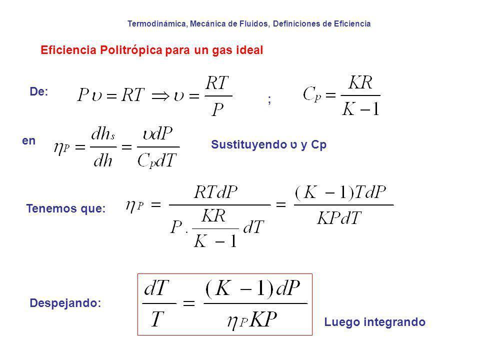 Termodinámica, Mecánica de Fluidos, Definiciones de Eficiencia Eficiencia Politrópica para un gas ideal De: ; en Sustituyendo ט y Cp Tenemos que: Desp