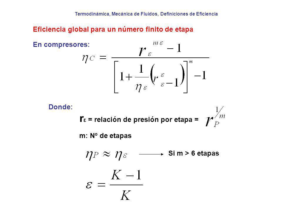 Termodinámica, Mecánica de Fluidos, Definiciones de Eficiencia Eficiencia global para un número finito de etapa Donde: r ε = relación de presión por e