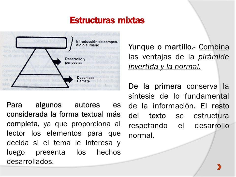 Estructuras mixtas Yunque o martillo.- Combina las ventajas de la pirámide invertida y la normal. De la primera conserva la síntesis de lo fundamental