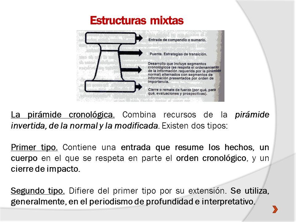 Estructuras mixtas La pirámide cronológica. Combina recursos de la pirámide invertida, de la normal y la modificada. Existen dos tipos: Primer tipo. C
