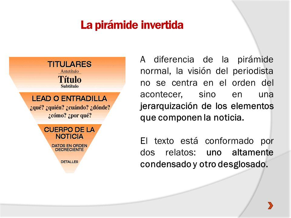 La pirámide invertida A diferencia de la pirámide normal, la visión del periodista no se centra en el orden del acontecer, sino en una jerarquización