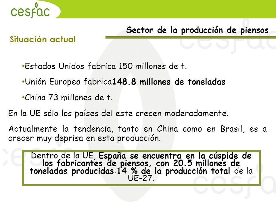 Sector de la producción de piensos Situación actual Estados Unidos fabrica 150 millones de t. Unión Europea fabrica148.8 millones de toneladas China 7