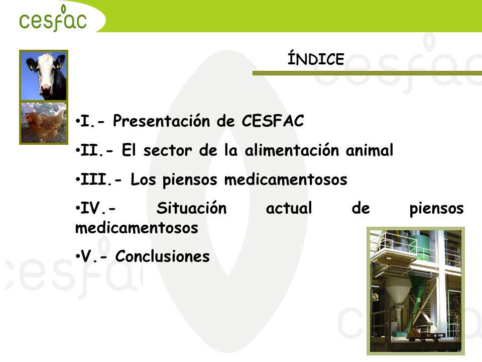 I.- Presentación de CESFAC II.- El sector de la alimentación animal III.- Los piensos medicamentosos IV.- Situación actual de piensos medicamentosos V.- Conclusiones ÍNDICE