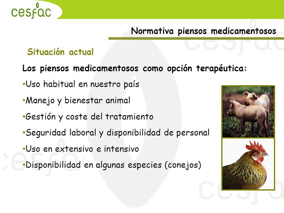 Normativa piensos medicamentosos Situación actual Los piensos medicamentosos como opción terapéutica: Uso habitual en nuestro país Manejo y bienestar