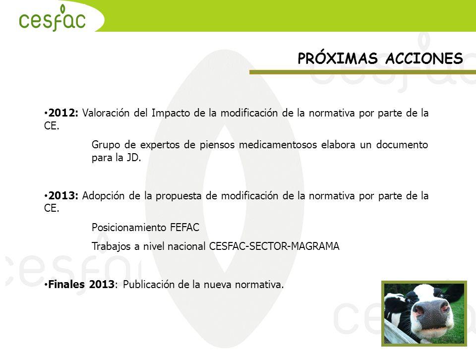 2012: Valoración del Impacto de la modificación de la normativa por parte de la CE. Grupo de expertos de piensos medicamentosos elabora un documento p