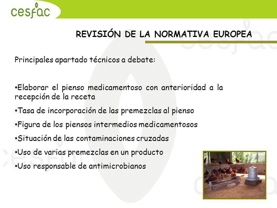 Principales apartado técnicos a debate: Elaborar el pienso medicamentoso con anterioridad a la recepción de la receta Tasa de incorporación de las pre