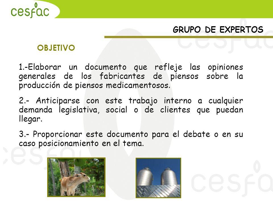 GRUPO DE EXPERTOS OBJETIVO 1.-Elaborar un documento que refleje las opiniones generales de los fabricantes de piensos sobre la producción de piensos m