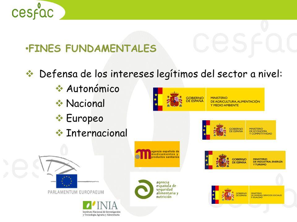 FINES FUNDAMENTALES Defensa de los intereses legítimos del sector a nivel: Autonómico Nacional Europeo Internacional