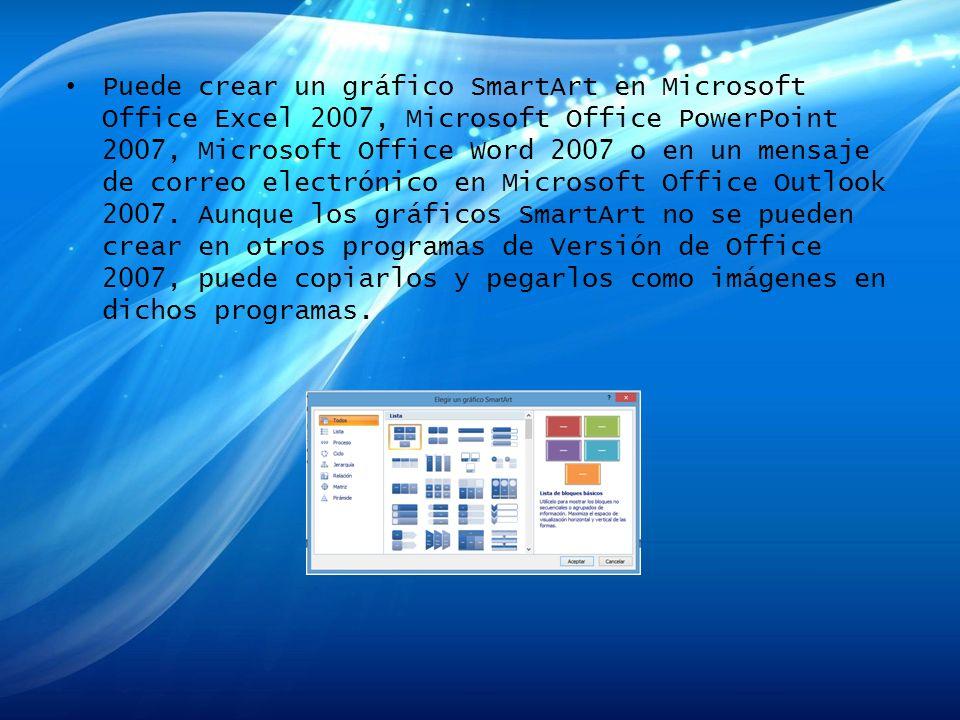 Puede crear un gráfico SmartArt en Microsoft Office Excel 2007, Microsoft Office PowerPoint 2007, Microsoft Office Word 2007 o en un mensaje de correo