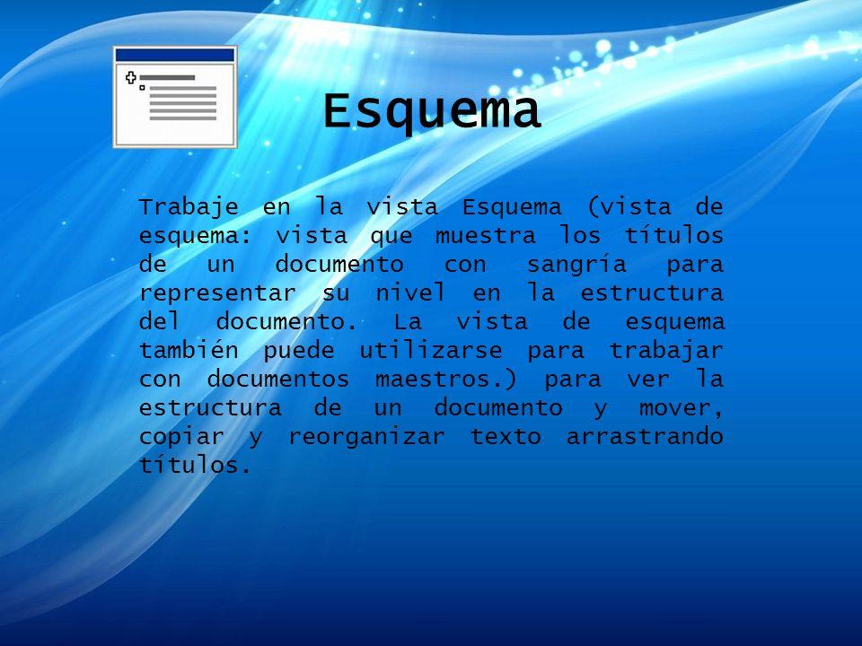 Esquema Trabaje en la vista Esquema (vista de esquema: vista que muestra los títulos de un documento con sangría para representar su nivel en la estru
