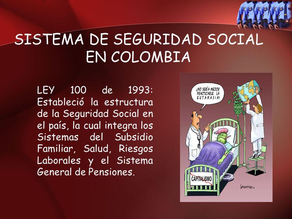SISTEMA DE SEGURIDAD SOCIAL EN COLOMBIA LEY 100 de 1993: Estableció la estructura de la Seguridad Social en el país, la cual integra los Sistemas del