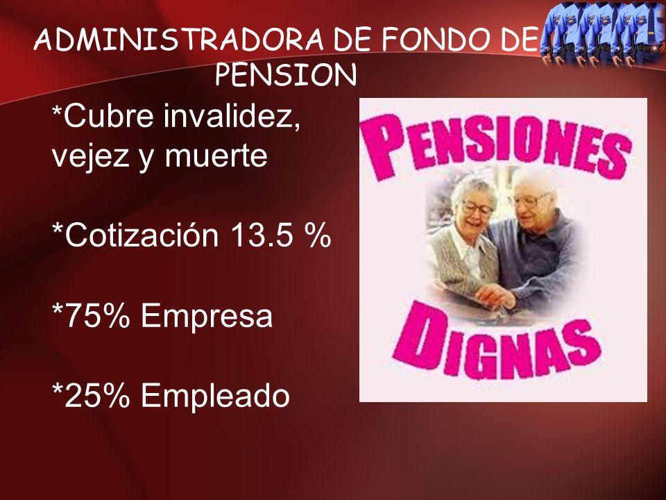 ADMINISTRADORA DE FONDO DE PENSION * Cubre invalidez, vejez y muerte *Cotización 13.5 % *75% Empresa *25% Empleado