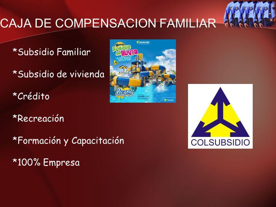 CAJA DE COMPENSACION FAMILIAR *Subsidio Familiar *Subsidio de vivienda *Crédito *Recreación *Formación y Capacitación *100% Empresa
