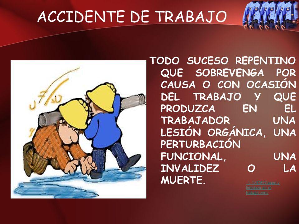 ACCIDENTE DE TRABAJO TODO SUCESO REPENTINO QUE SOBREVENGA POR CAUSA O CON OCASIÓN DEL TRABAJO Y QUE PRODUZCA EN EL TRABAJADOR UNA LESIÓN ORGÁNICA, UNA