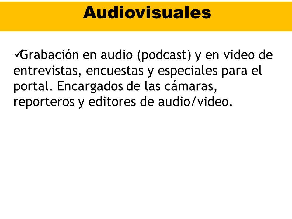 Audiovisuales Grabación en audio (podcast) y en video de entrevistas, encuestas y especiales para el portal. Encargados de las cámaras, reporteros y e