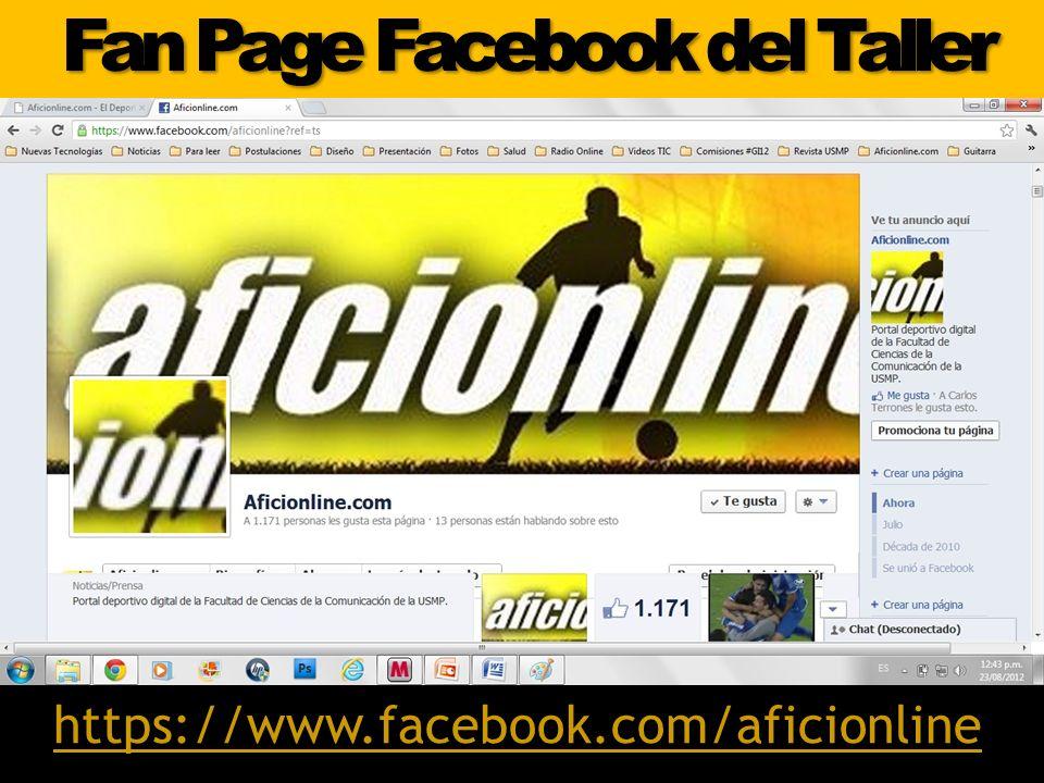 Fan Page Facebook del Taller https://www.facebook.com/aficionline