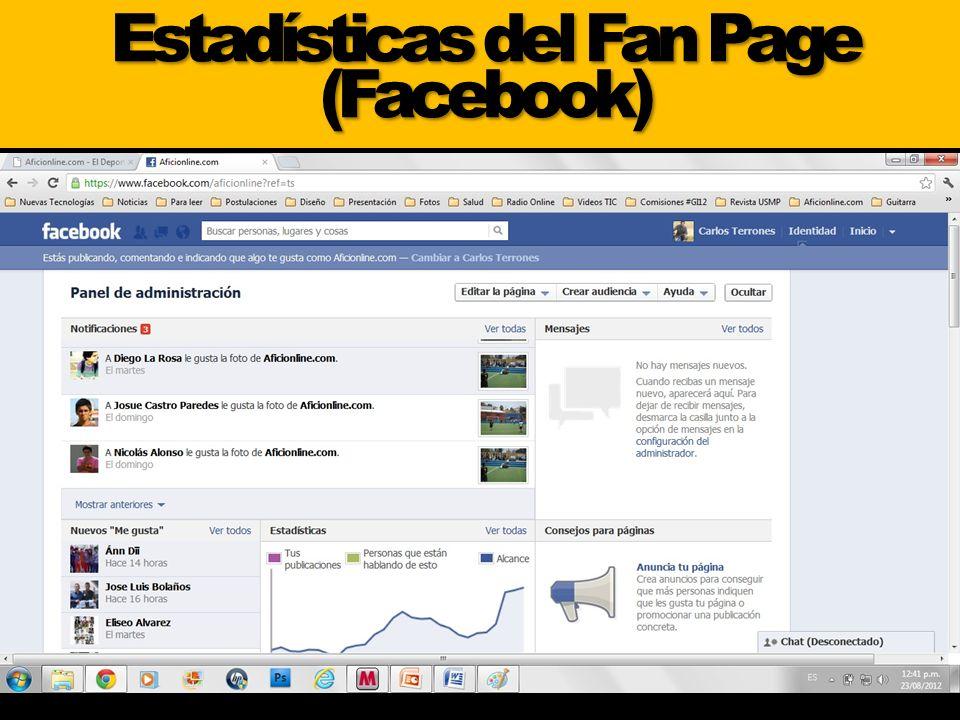 Estadísticas del Fan Page (Facebook)