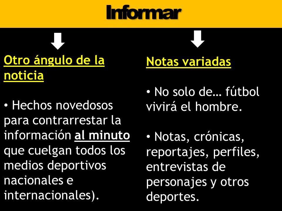 Informar Notas variadas No solo de… fútbol vivirá el hombre. Notas, crónicas, reportajes, perfiles, entrevistas de personajes y otros deportes. Otro á