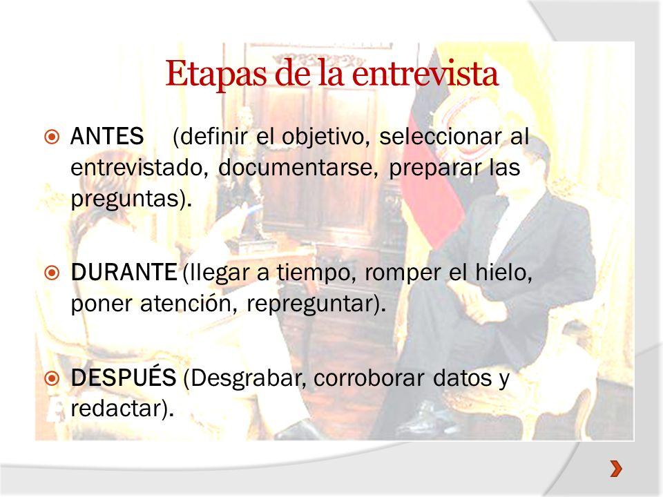 Tipos de entrevista 1) Entrevista noticiosa o de información.- Su cuestionario de preguntas da a conocer un tema y su importancia.