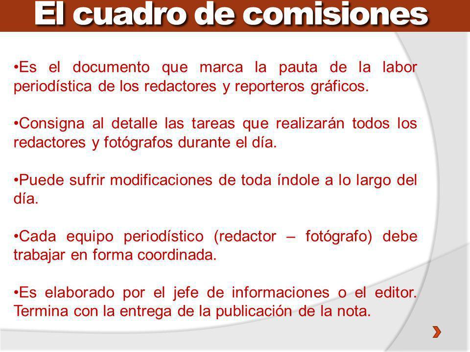 El cuadro de comisiones Es el documento que marca la pauta de la labor periodística de los redactores y reporteros gráficos. Consigna al detalle las t