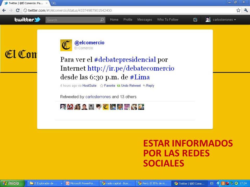 ESTAR INFORMADOS POR LAS REDES SOCIALES