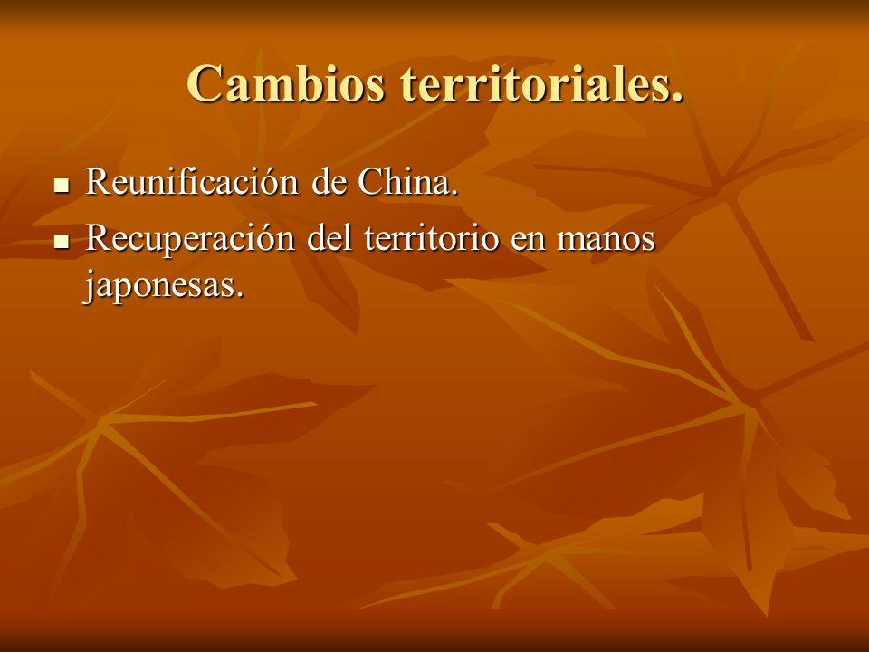Cambios territoriales. Reunificación de China. Reunificación de China. Recuperación del territorio en manos japonesas. Recuperación del territorio en