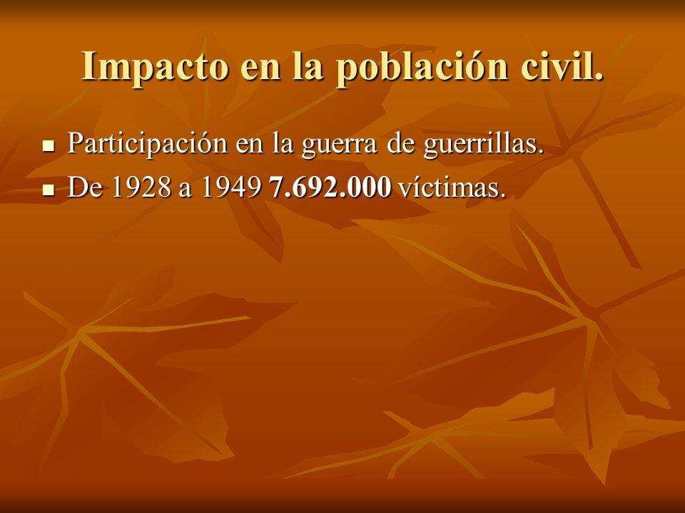 Impacto en la población civil. Participación en la guerra de guerrillas. Participación en la guerra de guerrillas. De 1928 a 1949 7.692.000 víctimas.