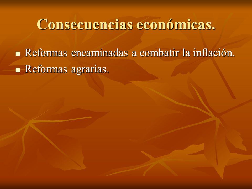 Consecuencias económicas. Reformas encaminadas a combatir la inflación. Reformas encaminadas a combatir la inflación. Reformas agrarias. Reformas agra