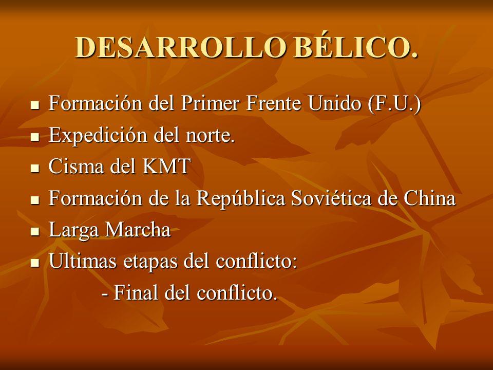DESARROLLO BÉLICO. Formación del Primer Frente Unido (F.U.) Formación del Primer Frente Unido (F.U.) Expedición del norte. Expedición del norte. Cisma