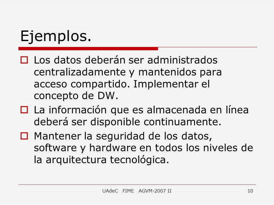 UAdeC FIME AGVM-2007 II10 Los datos deberán ser administrados centralizadamente y mantenidos para acceso compartido. Implementar el concepto de DW. La