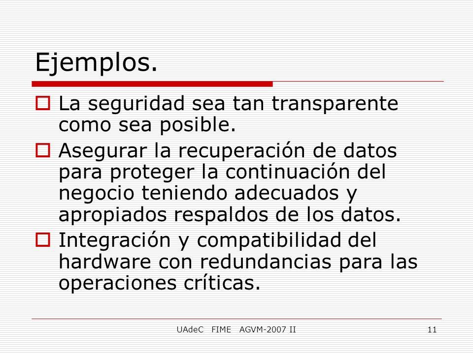 UAdeC FIME AGVM-2007 II11 La seguridad sea tan transparente como sea posible. Asegurar la recuperación de datos para proteger la continuación del nego