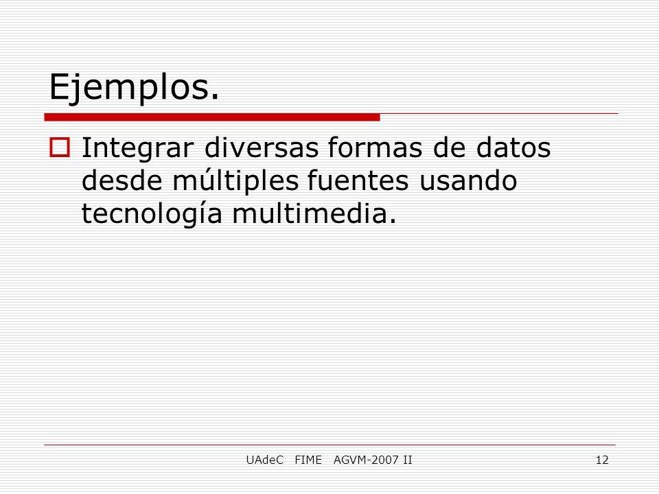 UAdeC FIME AGVM-2007 II12 Integrar diversas formas de datos desde múltiples fuentes usando tecnología multimedia. Ejemplos.