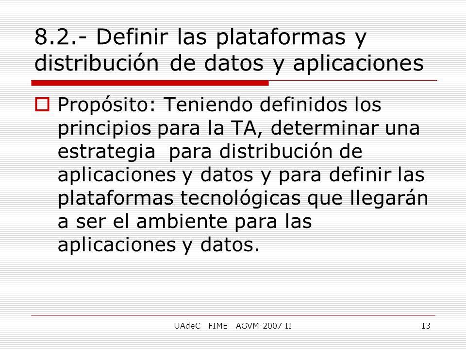 UAdeC FIME AGVM-2007 II13 8.2.- Definir las plataformas y distribución de datos y aplicaciones Propósito: Teniendo definidos los principios para la TA