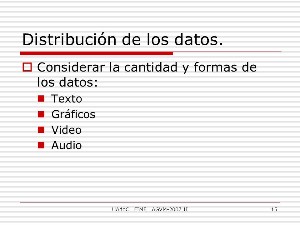 UAdeC FIME AGVM-2007 II15 Distribución de los datos. Considerar la cantidad y formas de los datos: Texto Gráficos Video Audio