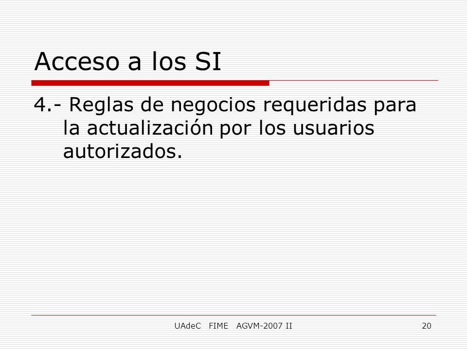 UAdeC FIME AGVM-2007 II20 4.- Reglas de negocios requeridas para la actualización por los usuarios autorizados. Acceso a los SI