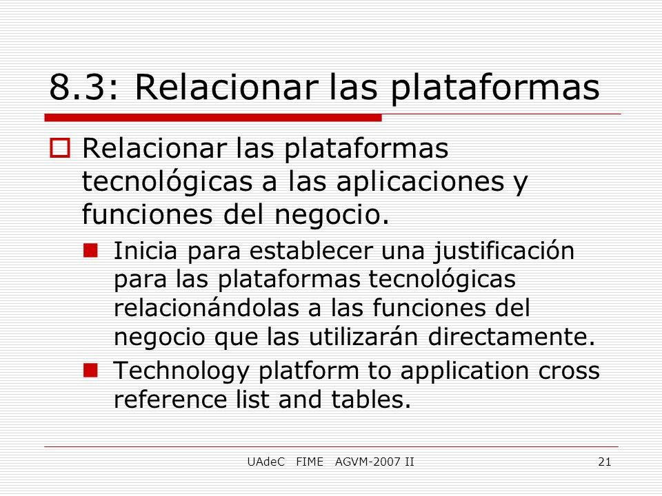 UAdeC FIME AGVM-2007 II21 8.3: Relacionar las plataformas Relacionar las plataformas tecnológicas a las aplicaciones y funciones del negocio. Inicia p