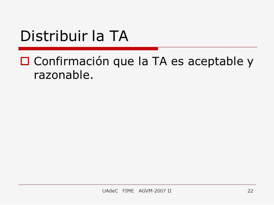 UAdeC FIME AGVM-2007 II22 Distribuir la TA Confirmación que la TA es aceptable y razonable.